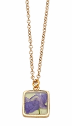Purple Larkspur Lime Sm Sq Necklace