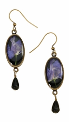 Purple Larkspur on Black SM Oval Earrings w/Drop