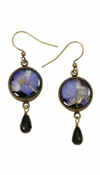 Purple Larkspur on Black SM RND Earring w/Drop