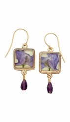 Purple Larkspur Sq Earrings w/Drop