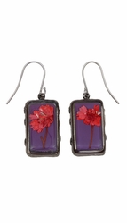 Red Achillea Acai Rect Earrings