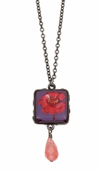 Red Achillea Acai Sm Sq on Chain w/Drop