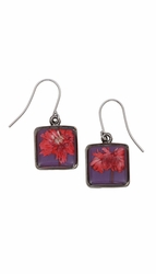 Red Achillea Acai Sq Earrings