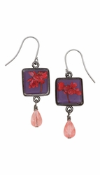 Red Achillea Acai Sq Earrings w/Drop