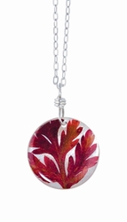 "Red Fern on Shell 16"" Med Rd. Necklace"