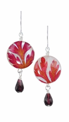 Red Fern on Shell Petite Rd. w/Drop Earrings