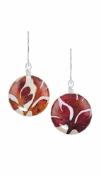 Red Fern on Shell Petite Rd Earrings