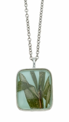 Rosemary Aqua Med Square on Chain
