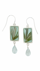 Rosemary Aqua Rect Earrings w/Drop