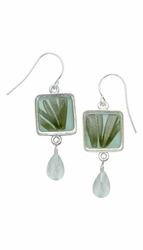 Rosemary Aqua Sq Earrings w/Drop