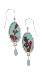 Scarlet Gilia on Robin Small Oval Earrings w/Drop