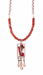 Scarlet Gilia Sm Rect Beaded Pendant w/Triple Drop