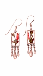 Scarlet Gilia Sm Rect. w/Triple Drop Earrings