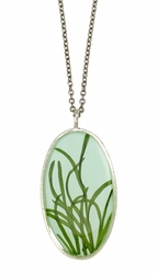 Seagrass on Aqua LG Oval Necklace
