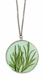 Seagrass on Aqua LG Round Necklace