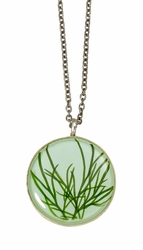 Seagrass on Aqua MED Round Necklace