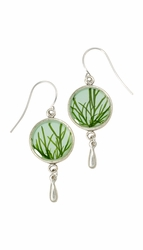 Seagrass on Aqua SM Earrings w/Drop