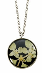 Silver Leaf on Licorice Med. Rnd Necklace