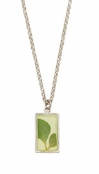 Silver Leaf Small Rectangle Necklace