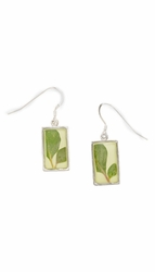Silver Leaf Small Rectangle Earrings