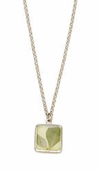 Silver Leaf Small Square Necklace