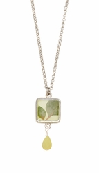 Silver Leaf Small Square w/Drop Necklace