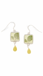 Silver Leaf Small Square w/Drop Earrings
