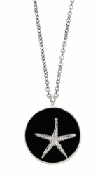 Silver Starfish Black MED RND Necklace