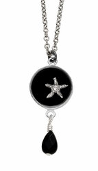 Silver Starfish Black RND Necklace w/Drop