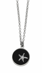 Silver Starfish Black SM RND Necklace