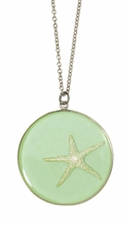 Silver Starfish on Aqua LG RND Necklace