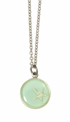 Silver Starfish on Aqua SM RND Necklace