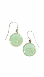 Silver Starfish on Aqua SM RND Earrings