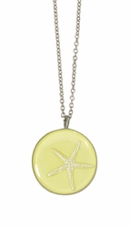Silver Starfish on Lemon MED RND Necklace