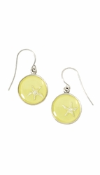Silver Starfish on Lemon SM RND Earrings