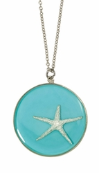 Silver Starfish on Turquoise LG Rnd Necklace