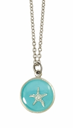 Silver Starfish on Turquoise SM RND Necklace