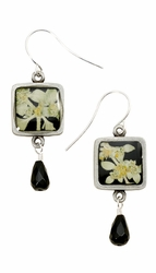 Sivler Leaf on Licorice Sm Sq Earrings w/Drop