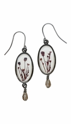 Smoketree White Oval Earrings w/Drop