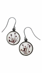 Smoketree White Round Earrings