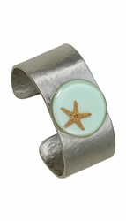Starfish on Aqua Cuff Bracelet
