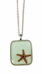 Starfish on Aqua MED Square Necklace