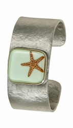 Starfish on Aqua MED Square Cuff Bracelet