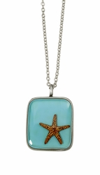 Starfish on Turquoise MED Square Necklace