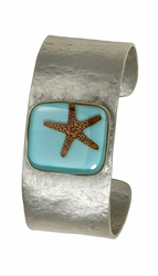 Starfish on Turquoise MED Square Cuff Bracelet