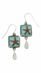 Starfish on Turquoise SM Square Earrings w/Drop