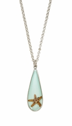 "Starfish Teardrop 16"" Adj. Necklace"