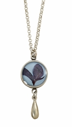 Texas Bluebonnet on Dusk Blue SM RND Necklace w/Drop