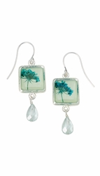Turquoise QA Seafoam Sq Earrings w/drop