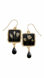 Veronica Bud Black Med Sq Earrings w/Drop